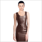 Round Neckline Leather Dress