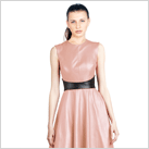 Flirty Style Pleated Leather Dress