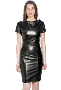 short-sleeved-stylish-leather-dress