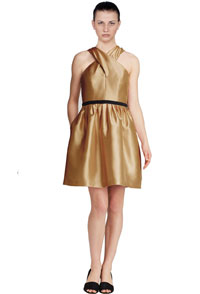 womens-lambskin-leather-dess-with-crossed-neck-pattern-and-pleats