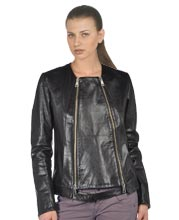 Long-Sleeve Polished Leather Belted Biker Jacket for Women