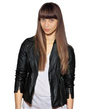 Stylish zip cuffed leather biker jacket for womens