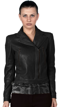 Notch Collar Buttoned biker Leather Jacket