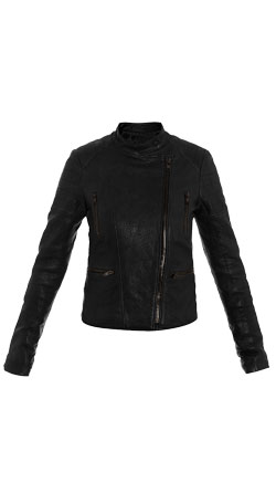 Leather Textured Slim-fit Womens Biker Jacket