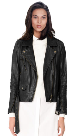 Notched and Shimmering Moto Leather Jacket