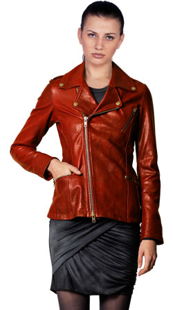 Trendy Notched Moto Leather Jacket
