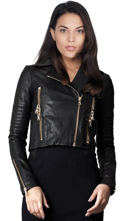 Lustrous Notch Lapel Biker Leather Jacket