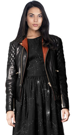 Peppy Collarless Leather Motorcycle Jacket