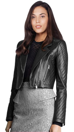 Cropped Biker Jacket with Quilted Detailing