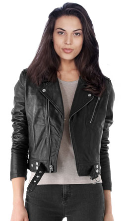 Notch lapel collar leather biker jacket