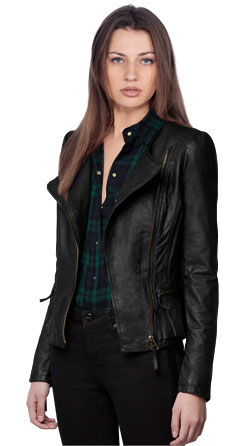 Back frill leather biker jacket