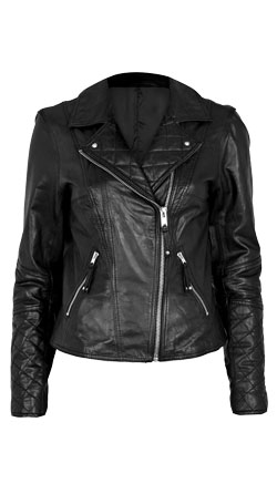 Front lapel biker leather jacket