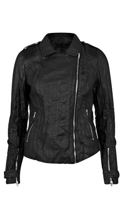 Crinkle Style Biker Leather Jacket