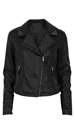 Front studded lapel biker leather jacket