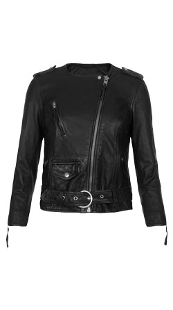 Front Buckled Biker Leather Jacket