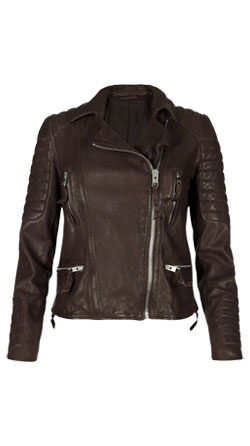 Quilted Trim Biker Leather Jacket