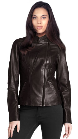 Off-Center Zipper Leather Biker Jacket