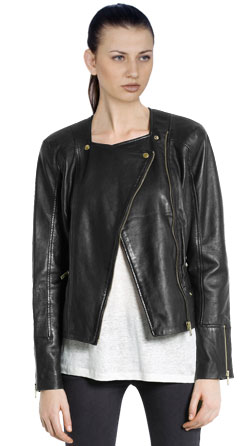 Trendy Leather Jacket with Off Center Closure