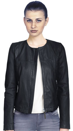 Chic and modish round neck leather jacket for women