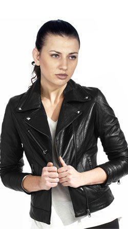 Modish notch collar leather jacket for women