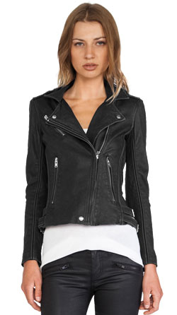 Modish Leather Jacket with Zipper Cuffs