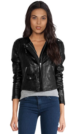 Smart lambskin leather jacket with a concealed front zip closure