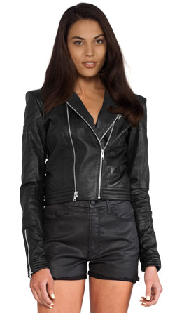 Splendid Leather jacket with asymmetrical front zip closure