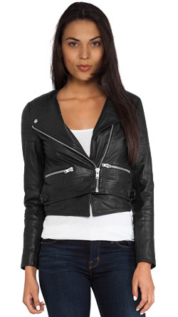 Leather jacket with polyester sleeve lining