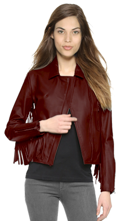 Womens Slim Cropped Leather Jacket with Fringed Detail