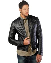 Leather Biker Jacket for Men with Quilted Padding at Elbow
