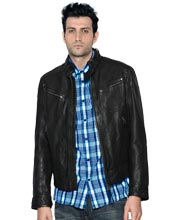 Stalwart leather biker jacket for men