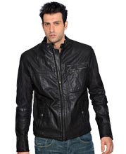 Stylishly rugged biker leather jacket for men