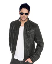 Modishly classic leather jacket for metrosexual men
