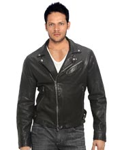 Napoleonic collar leather biker jacket for men