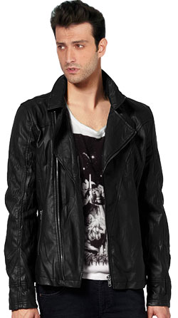 Classic looking zippered leather biker jacket for men