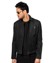 Extraordinary Double Layered Effect in Mens leather Biker Jacket