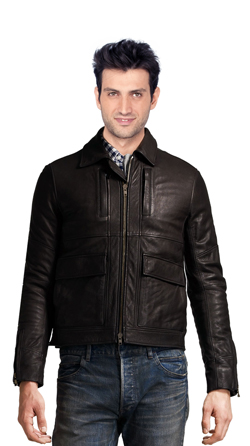 Cozy Leather Biker Jacket with Front Cargo Pockets