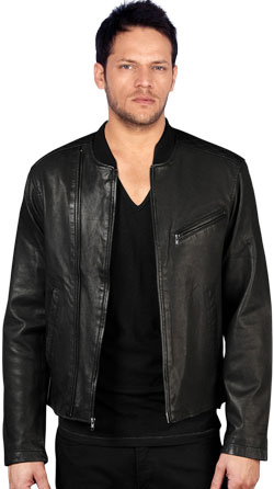 Lush Leather Biker Jacket with Trendy Chest Pockets