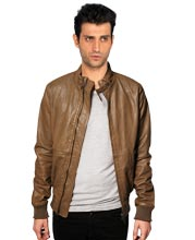 Funnel Neck Collar Leather Biker Jacket