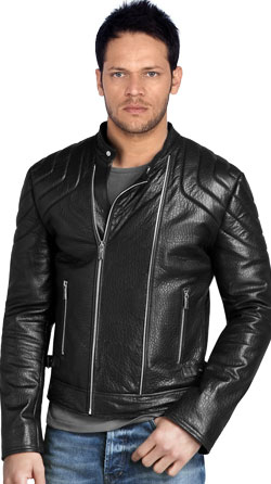 Sturdy Biker Leather Jacket with Flexible Buckle Hip Tab
