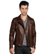 Biker Leather Jackets With Multiple Tilted Pockets