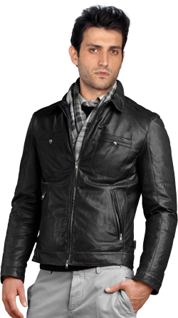 Casual Lapelled Leather Biker Jacket