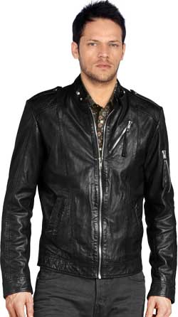 Stand-tab Collared Trendy Leather Biker Jacket