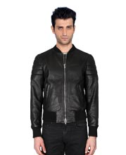 Sturdy Biker Leather Jacket with Ribbed Detailing