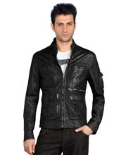 Four Pocketed Biker Leather Jacket