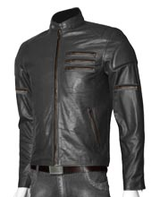 Zipper Sleeved Leather Biker Jacket for Men