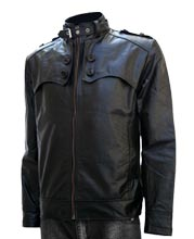 Stylishly Collared Mens Motorcycle Leather Jacket