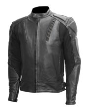 Ribbed Biker Leather Jacket for Men