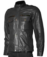 Hooped Collar Mens Leather Biker Jacket