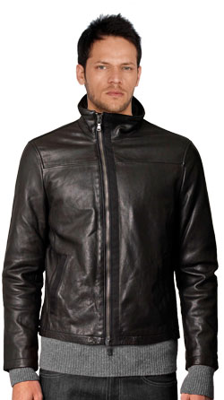 Asymmetrical-zipped Leather Biker Jacket with High Collar